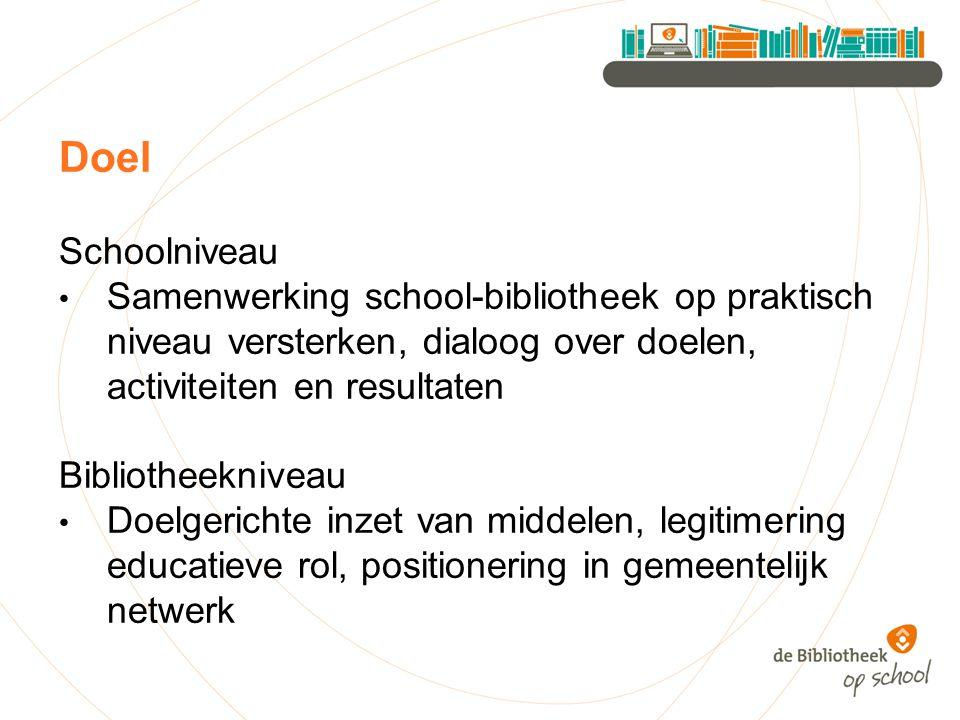 Doel Schoolniveau Samenwerking school-bibliotheek op praktisch niveau versterken, dialoog over doelen, activiteiten en resultaten Bibliotheekniveau Doelgerichte inzet van middelen, legitimering educatieve rol, positionering in gemeentelijk netwerk
