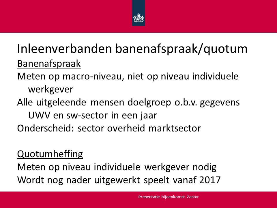 Inleenverbanden banenafspraak/quotum Banenafspraak Meten op macro-niveau, niet op niveau individuele werkgever Alle uitgeleende mensen doelgroep o.b.v