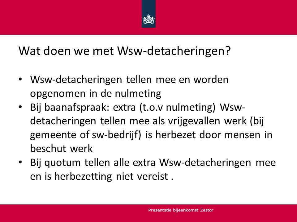 Wat doen we met Wsw-detacheringen? Wsw-detacheringen tellen mee en worden opgenomen in de nulmeting Bij baanafspraak: extra (t.o.v nulmeting) Wsw- det
