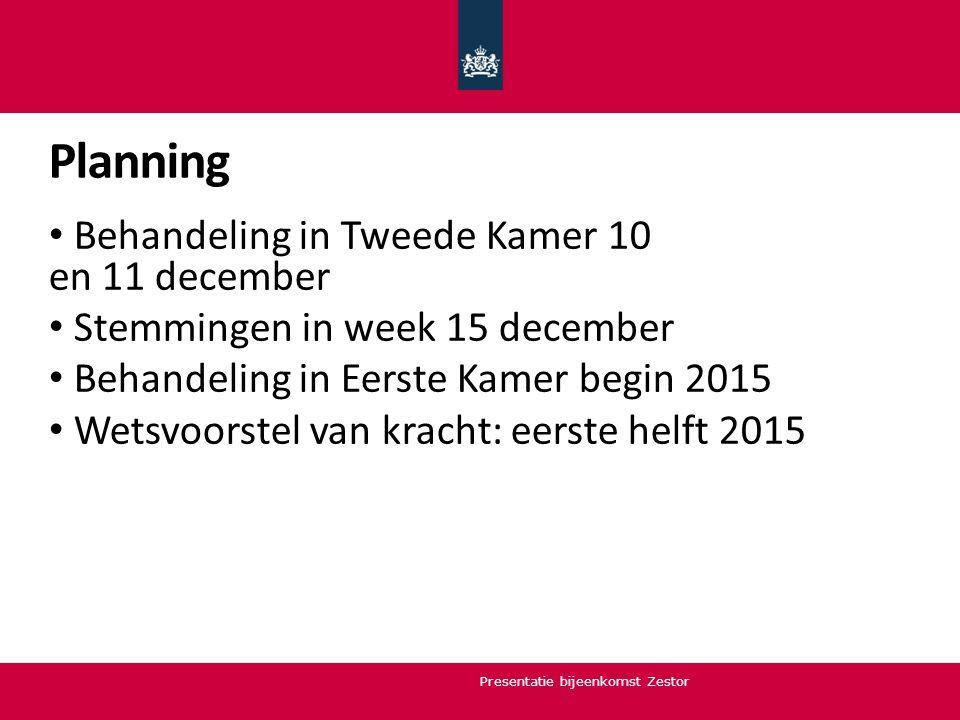 Planning Behandeling in Tweede Kamer 10 en 11 december Stemmingen in week 15 december Behandeling in Eerste Kamer begin 2015 Wetsvoorstel van kracht: