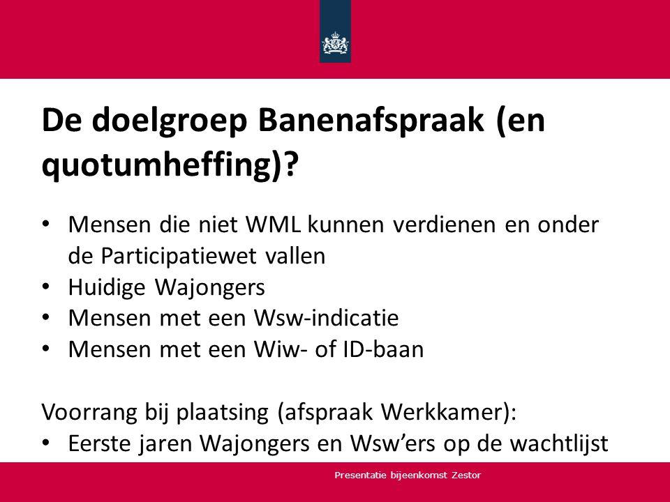 De doelgroep Banenafspraak (en quotumheffing)? Mensen die niet WML kunnen verdienen en onder de Participatiewet vallen Huidige Wajongers Mensen met ee