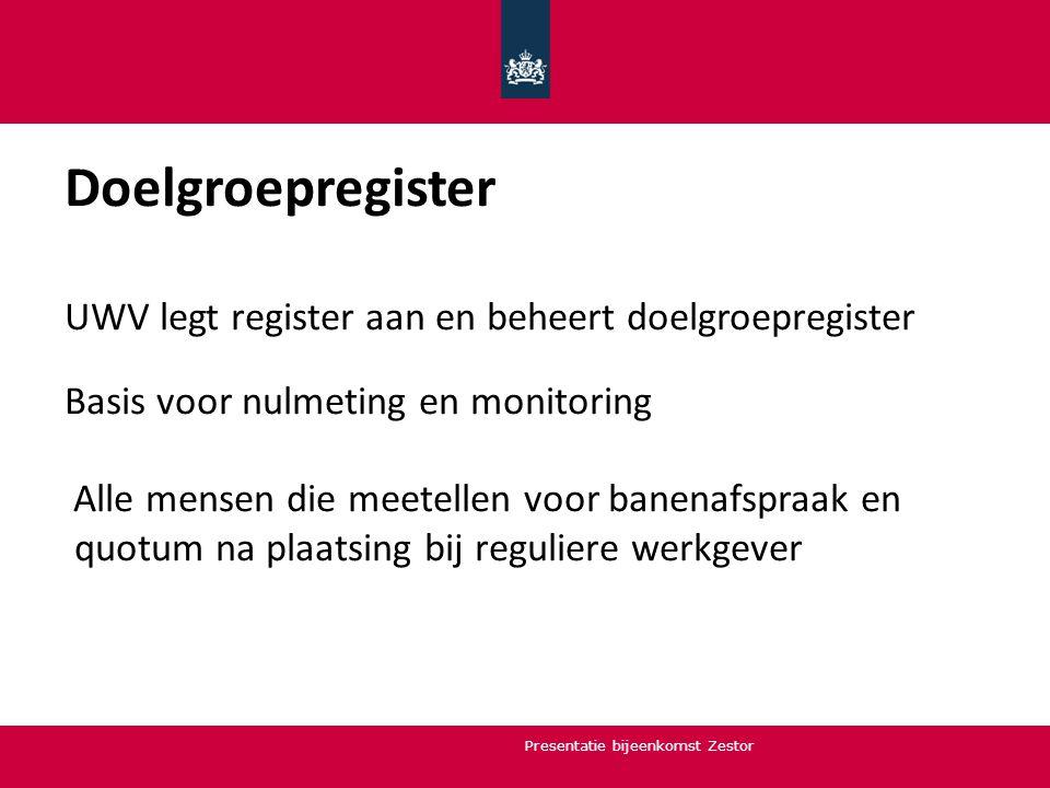 Doelgroepregister UWV legt register aan en beheert doelgroepregister Basis voor nulmeting en monitoring Alle mensen die meetellen voor banenafspraak e