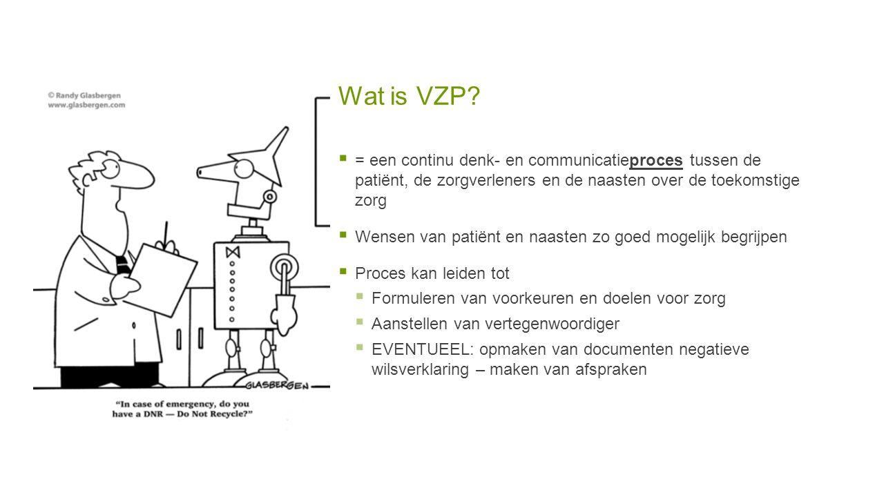 Wat is VZP?  = een continu denk- en communicatieproces tussen de patiënt, de zorgverleners en de naasten over de toekomstige zorg  Wensen van patiën