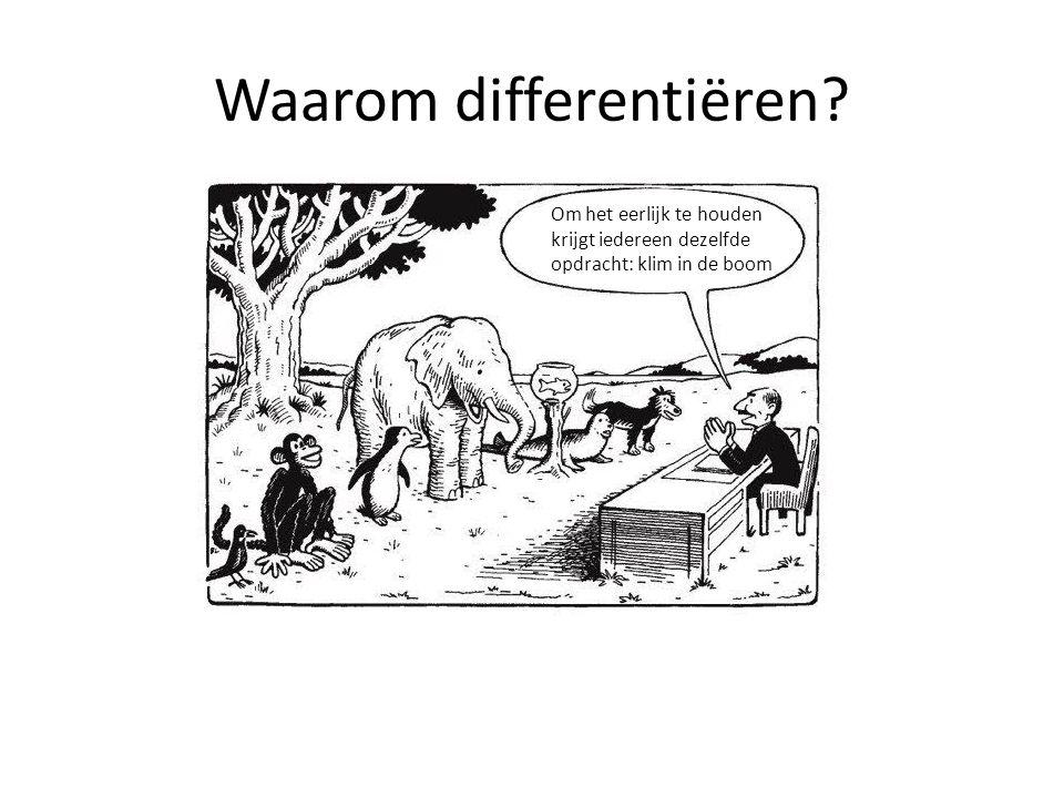 Waarom differentiëren? Om het eerlijk te houden krijgt iedereen dezelfde opdracht: klim in de boom