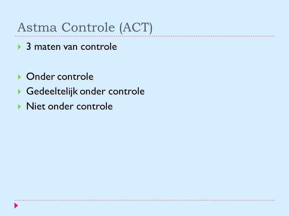 Astma Controle (ACT)  3 maten van controle  Onder controle  Gedeeltelijk onder controle  Niet onder controle