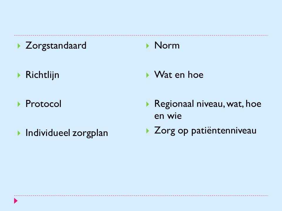  Zorgstandaard  Richtlijn  Protocol  Individueel zorgplan  Norm  Wat en hoe  Regionaal niveau, wat, hoe en wie  Zorg op patiëntenniveau