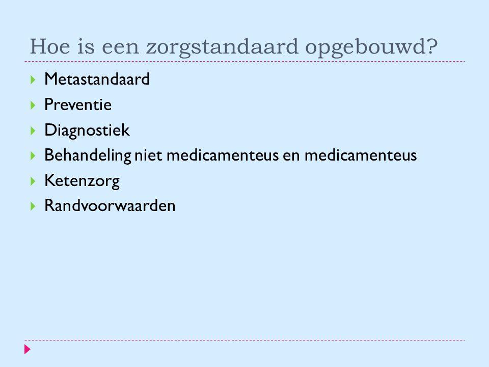 Hoe is een zorgstandaard opgebouwd?  Metastandaard  Preventie  Diagnostiek  Behandeling niet medicamenteus en medicamenteus  Ketenzorg  Randvoor