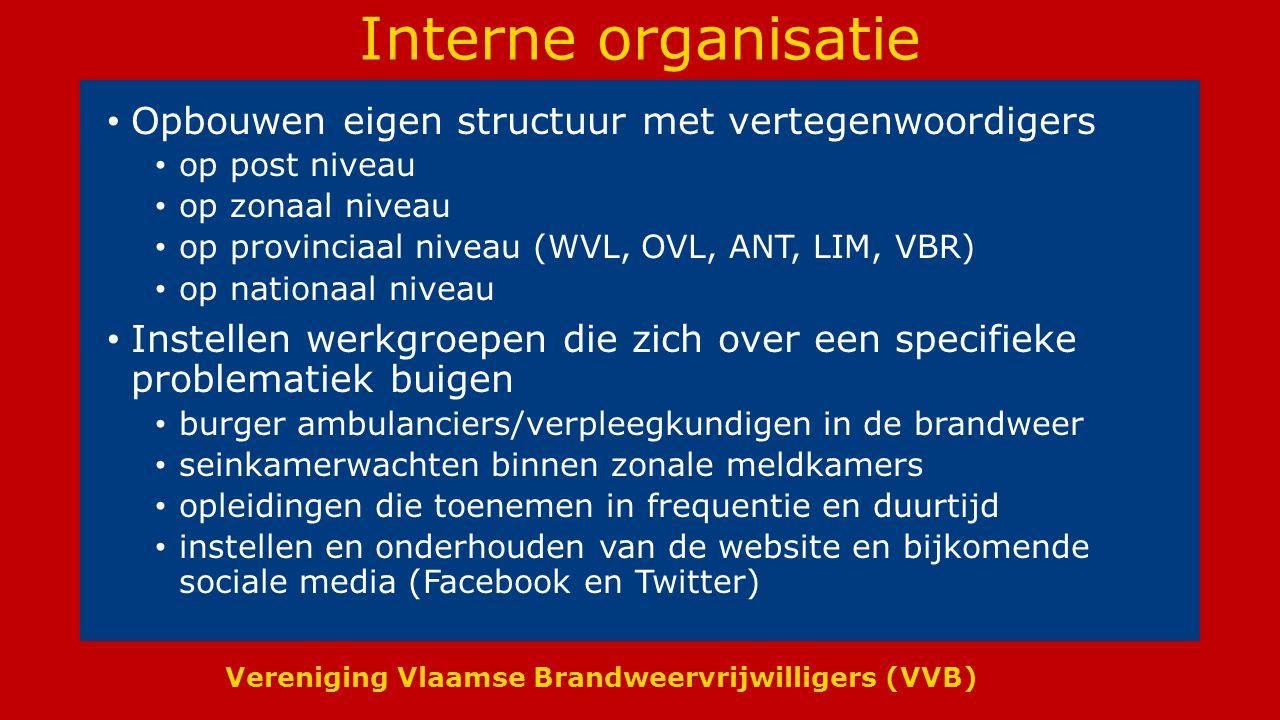 Vereniging Vlaamse Brandweervrijwilligers (VVB) Interne organisatie Opbouwen eigen structuur met vertegenwoordigers op post niveau op zonaal niveau op