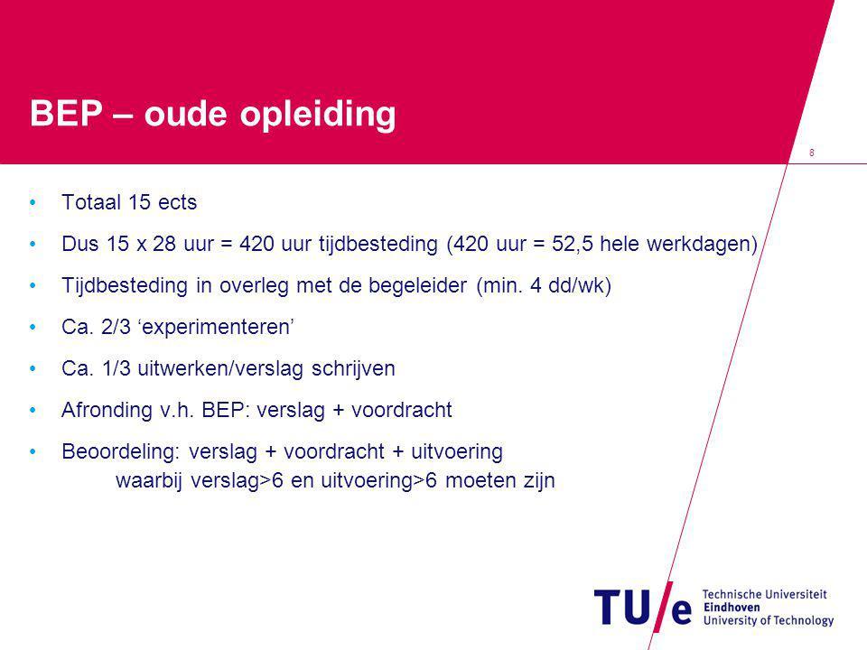 8 BEP – oude opleiding Totaal 15 ects Dus 15 x 28 uur = 420 uur tijdbesteding (420 uur = 52,5 hele werkdagen) Tijdbesteding in overleg met de begeleider (min.