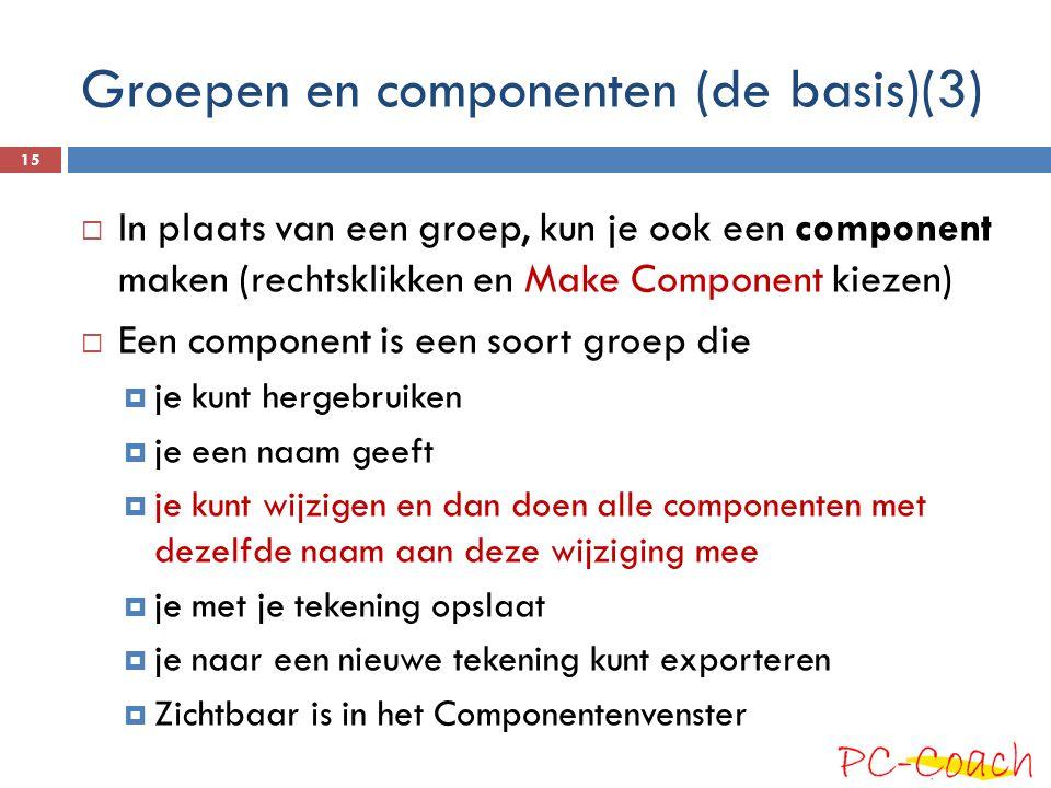  In plaats van een groep, kun je ook een component maken (rechtsklikken en Make Component kiezen)  Een component is een soort groep die  je kunt he