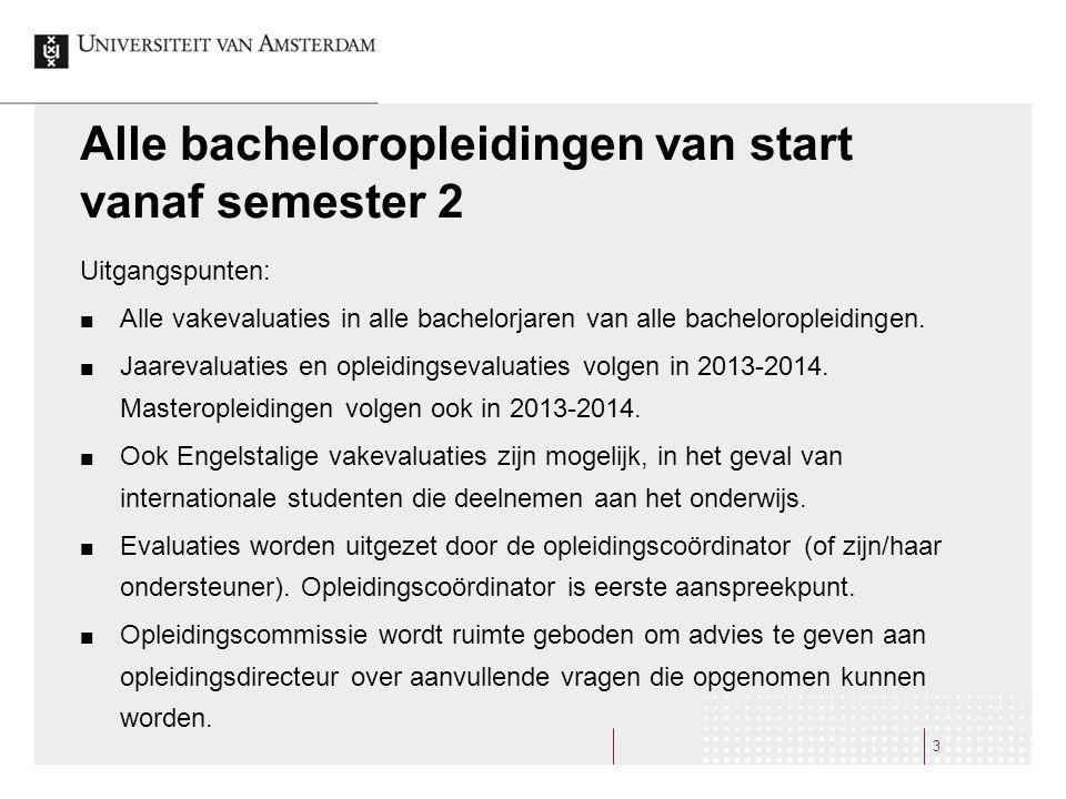 3 Alle bacheloropleidingen van start vanaf semester 2 Uitgangspunten: Alle vakevaluaties in alle bachelorjaren van alle bacheloropleidingen.