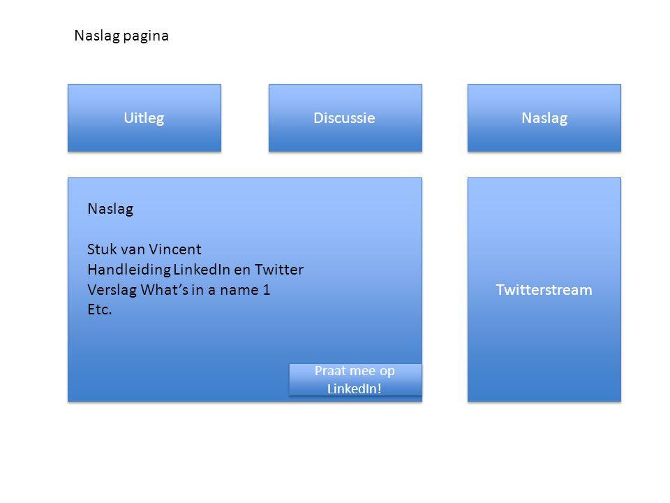 Uitleg Discussie Naslag Twitterstream Praat mee op LinkedIn! Naslag Stuk van Vincent Handleiding LinkedIn en Twitter Verslag What's in a name 1 Etc. N