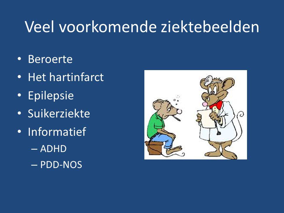 Veel voorkomende ziektebeelden Beroerte Het hartinfarct Epilepsie Suikerziekte Informatief – ADHD – PDD-NOS