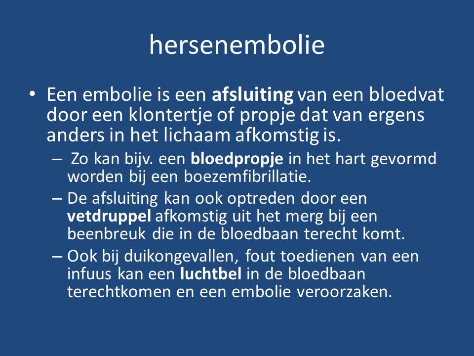 hersenembolie Een embolie is een afsluiting van een bloedvat door een klontertje of propje dat van ergens anders in het lichaam afkomstig is. – Zo kan