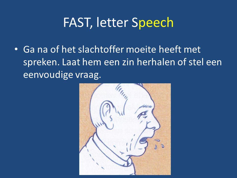 FAST, letter Speech Ga na of het slachtoffer moeite heeft met spreken. Laat hem een zin herhalen of stel een eenvoudige vraag.