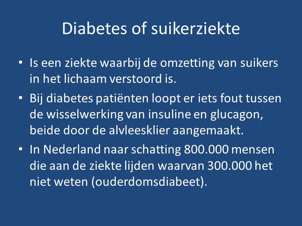 Diabetes of suikerziekte Is een ziekte waarbij de omzetting van suikers in het lichaam verstoord is. Bij diabetes patiënten loopt er iets fout tussen