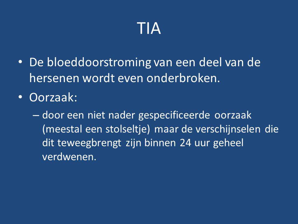 TIA De bloeddoorstroming van een deel van de hersenen wordt even onderbroken. Oorzaak: – door een niet nader gespecificeerde oorzaak (meestal een stol