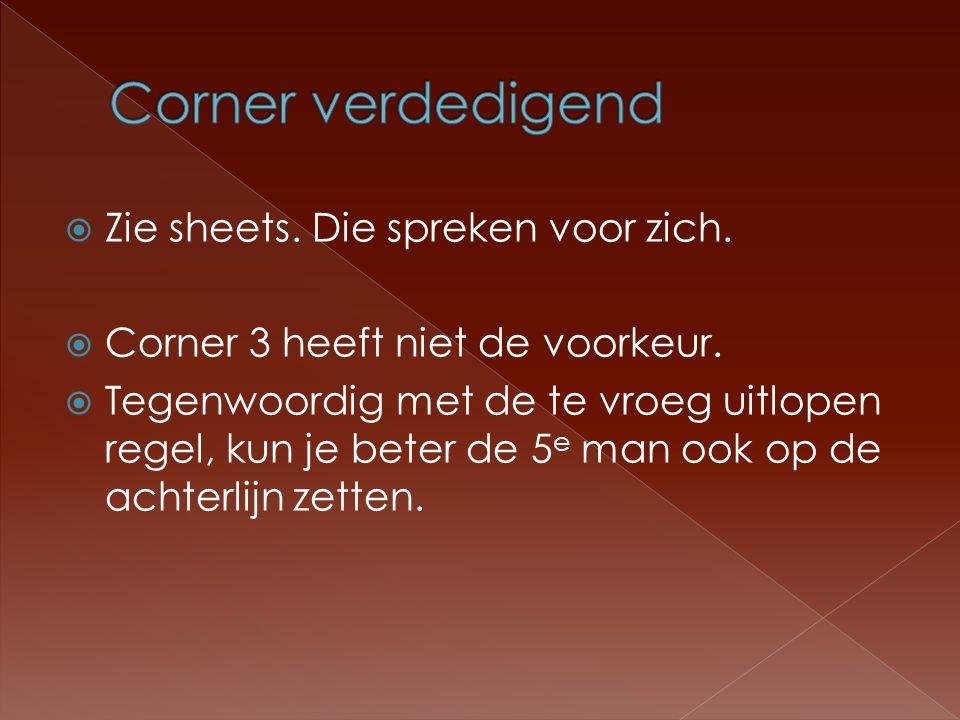  Zie sheets.Die spreken voor zich.  Corner 3 heeft niet de voorkeur.