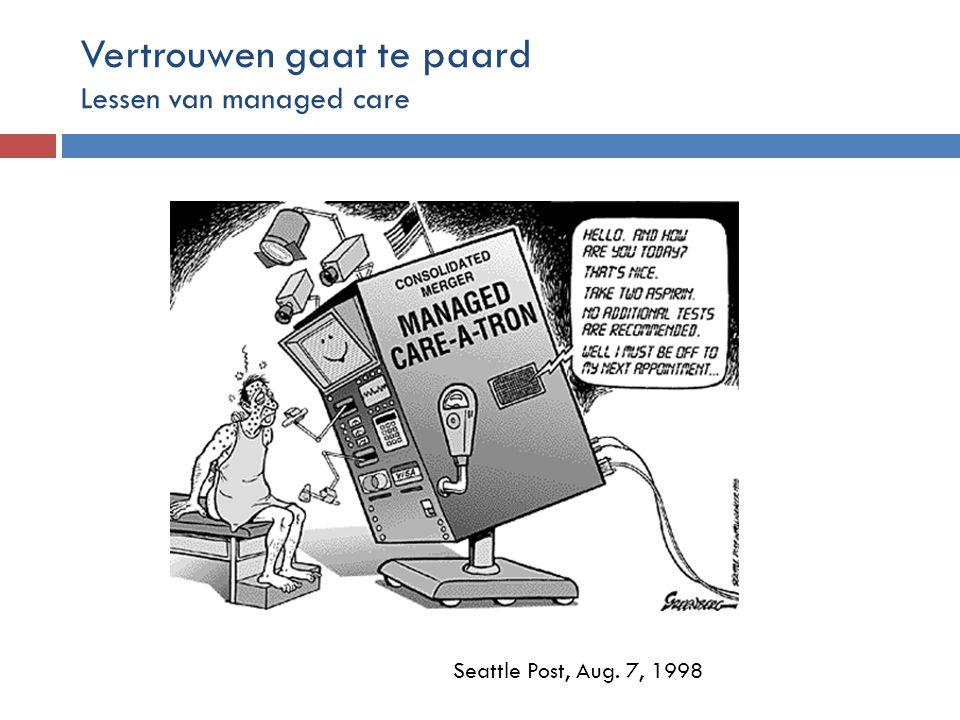 Seattle Post, Aug. 7, 1998 Vertrouwen gaat te paard Lessen van managed care