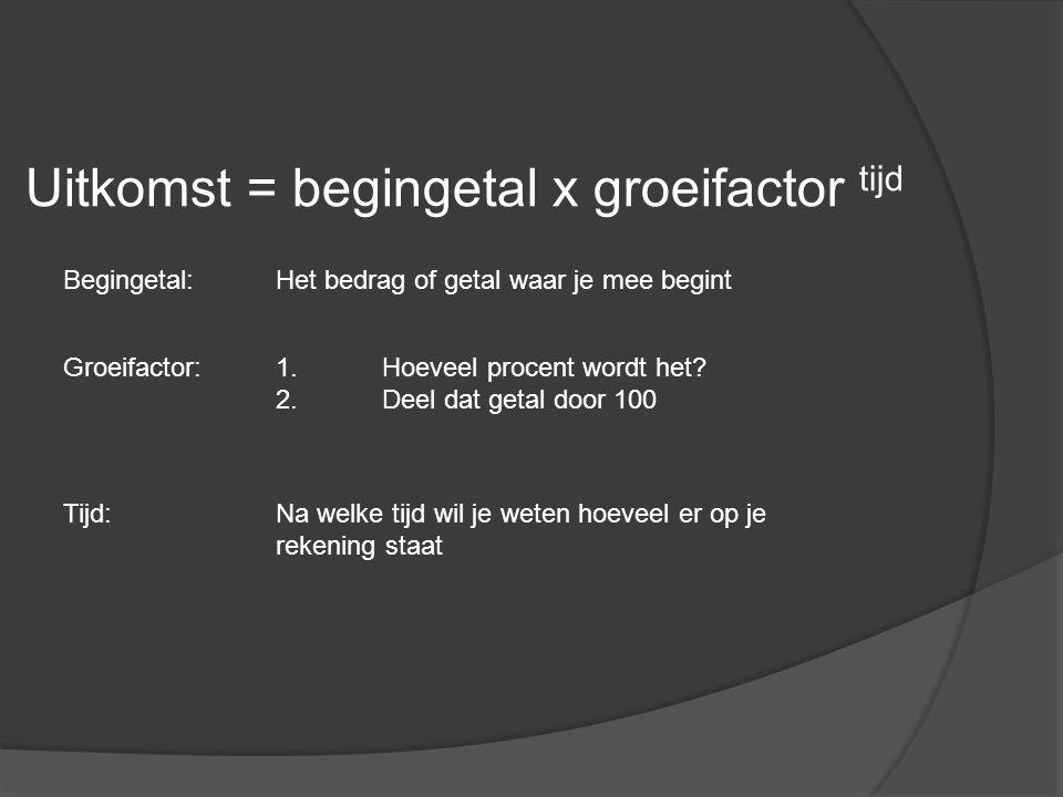 Uitkomst = begingetal x groeifactor tijd Groeifactor:1.Hoeveel procent wordt het? 2.Deel dat getal door 100 Tijd:Na welke tijd wil je weten hoeveel er
