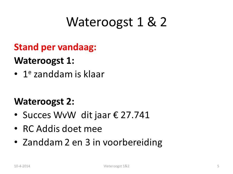 Stand per vandaag: Wateroogst 1: 1 e zanddam is klaar Wateroogst 2: Succes WvW dit jaar € 27.741 RC Addis doet mee Zanddam 2 en 3 in voorbereiding 10-4-20145Wateroogst 1&2