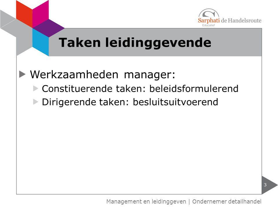 Werkzaamheden manager: Constituerende taken: beleidsformulerend Dirigerende taken: besluitsuitvoerend Taken leidinggevende 3 Management en leidinggeve