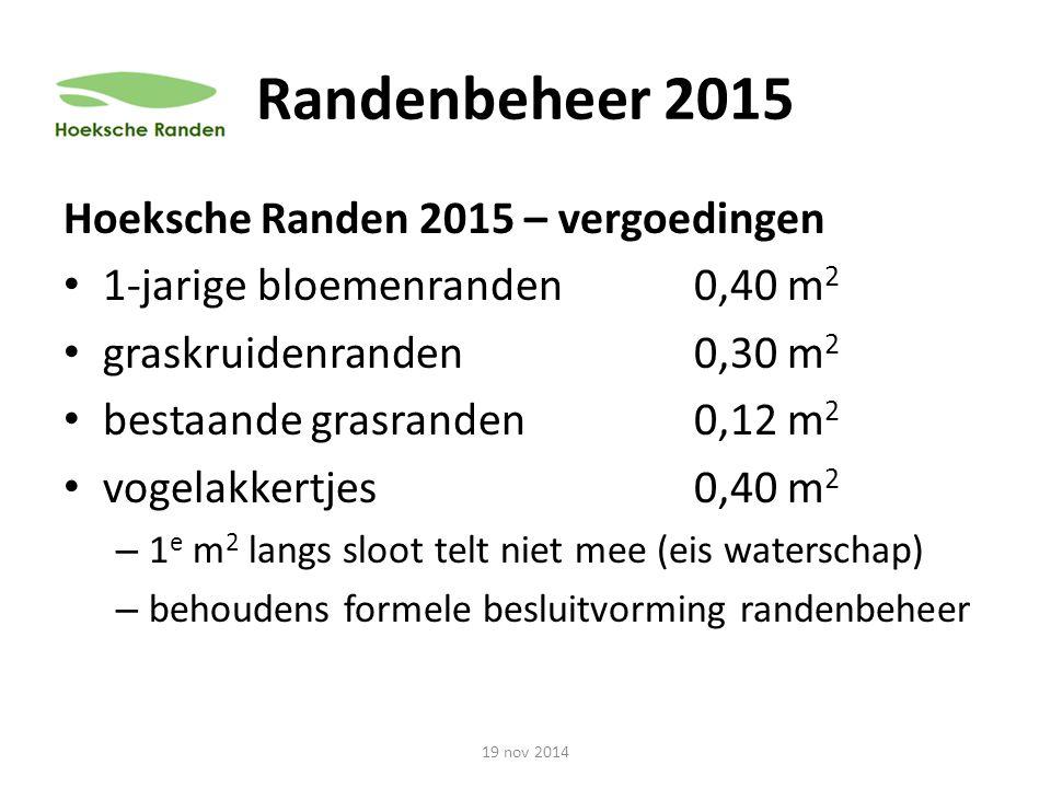 Randenbeheer 2015 Hoeksche Randen 2015 – vergoedingen 1-jarige bloemenranden0,40 m 2 graskruidenranden0,30 m 2 bestaande grasranden 0,12 m 2 vogelakke