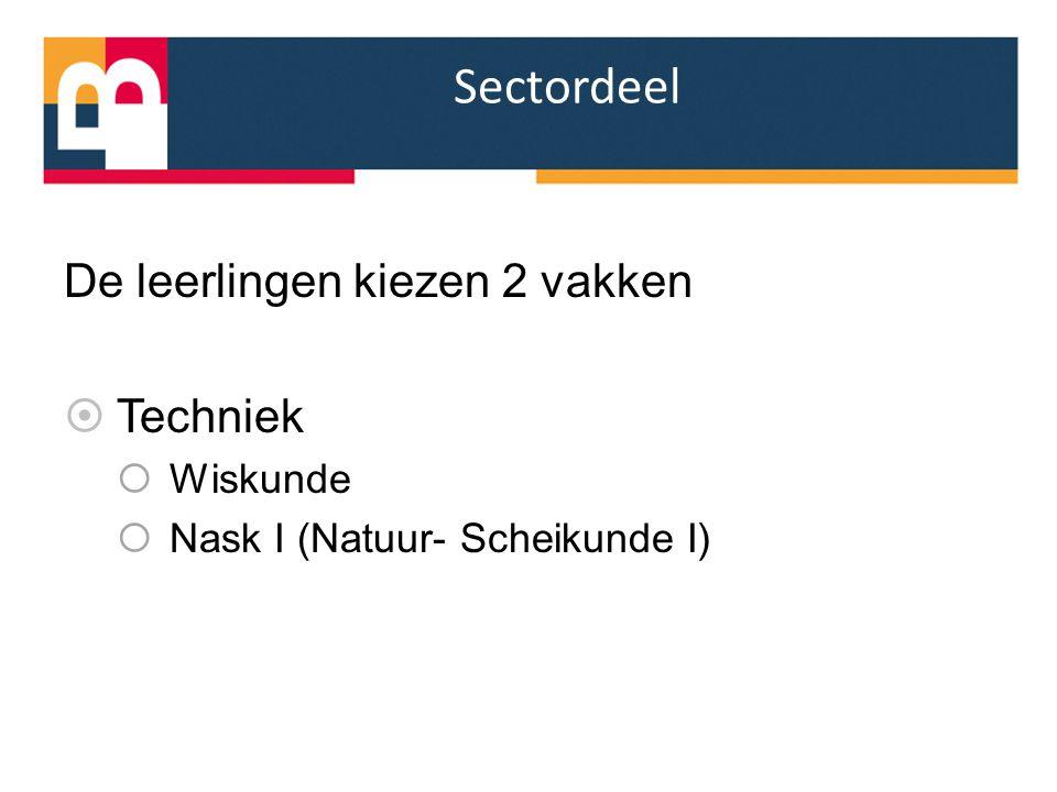 Sectordeel De leerlingen kiezen 2 vakken  Techniek  Wiskunde  Nask I (Natuur- Scheikunde I)