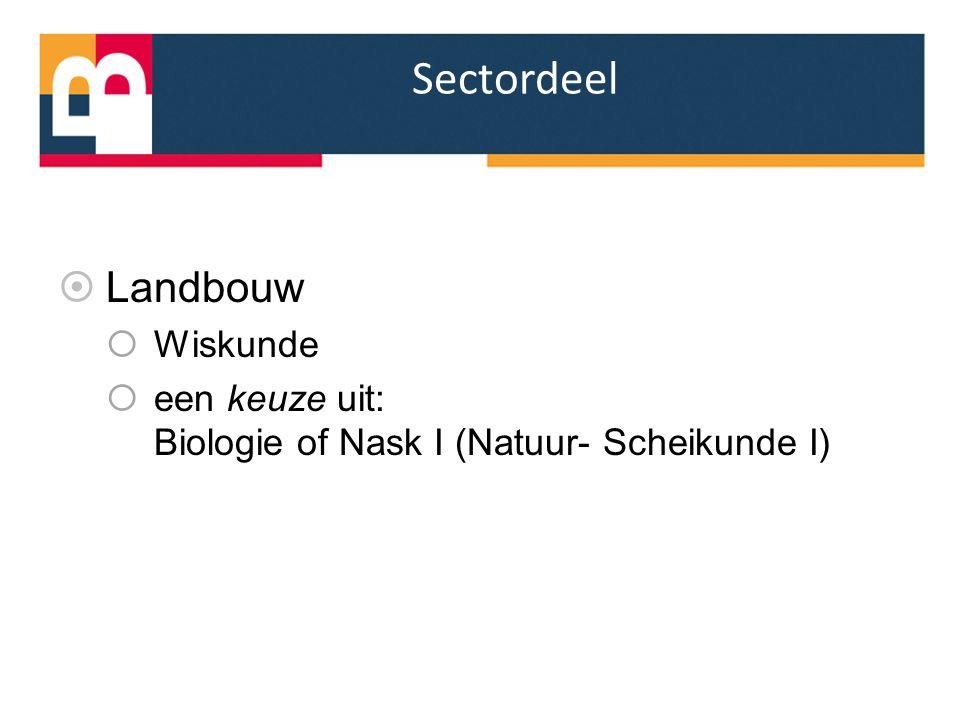 Sectordeel  Landbouw  Wiskunde  een keuze uit: Biologie of Nask I (Natuur- Scheikunde I)