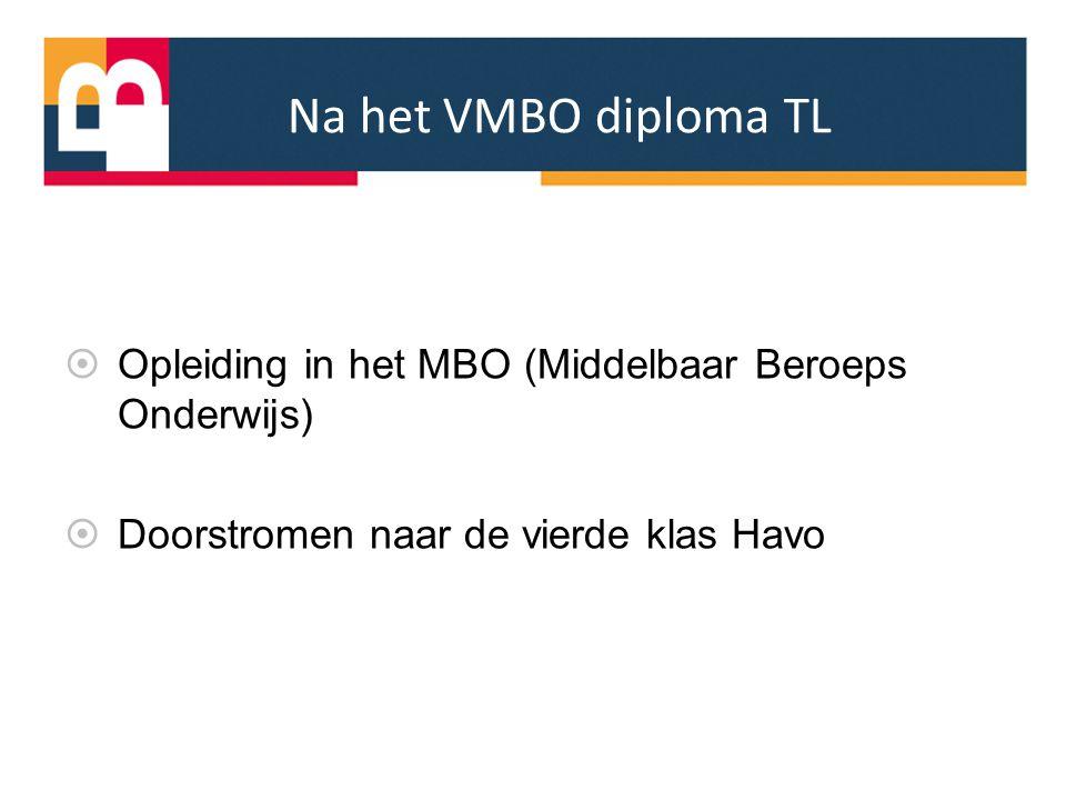 Na het VMBO diploma TL  Opleiding in het MBO (Middelbaar Beroeps Onderwijs)  Doorstromen naar de vierde klas Havo