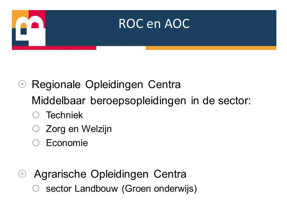 ROC en AOC  Regionale Opleidingen Centra Middelbaar beroepsopleidingen in de sector:  Techniek  Zorg en Welzijn  Economie  Agrarische Opleidingen