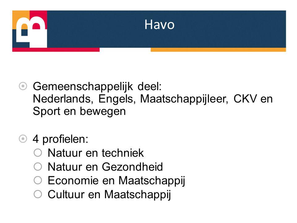 Havo  Gemeenschappelijk deel: Nederlands, Engels, Maatschappijleer, CKV en Sport en bewegen  4 profielen:  Natuur en techniek  Natuur en Gezondhei