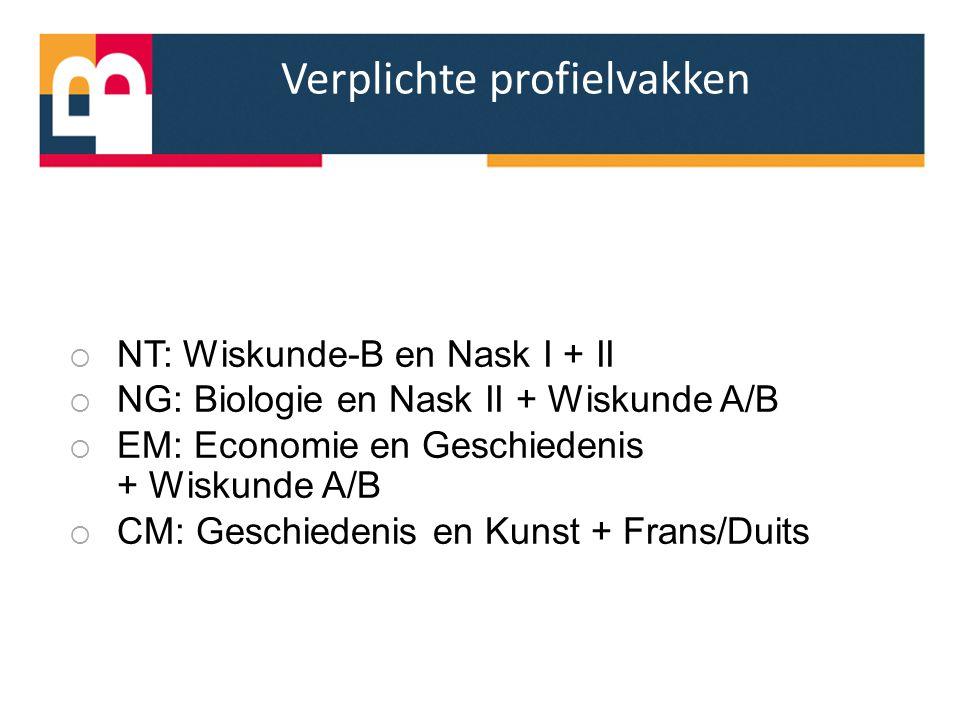 Verplichte profielvakken  NT: Wiskunde-B en Nask I + II  NG: Biologie en Nask II + Wiskunde A/B  EM: Economie en Geschiedenis + Wiskunde A/B  CM: