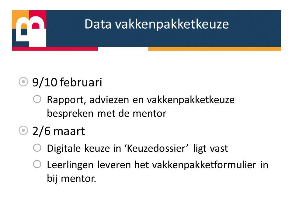 Data vakkenpakketkeuze  9/10 februari  Rapport, adviezen en vakkenpakketkeuze bespreken met de mentor  2/6 maart  Digitale keuze in 'Keuzedossier'