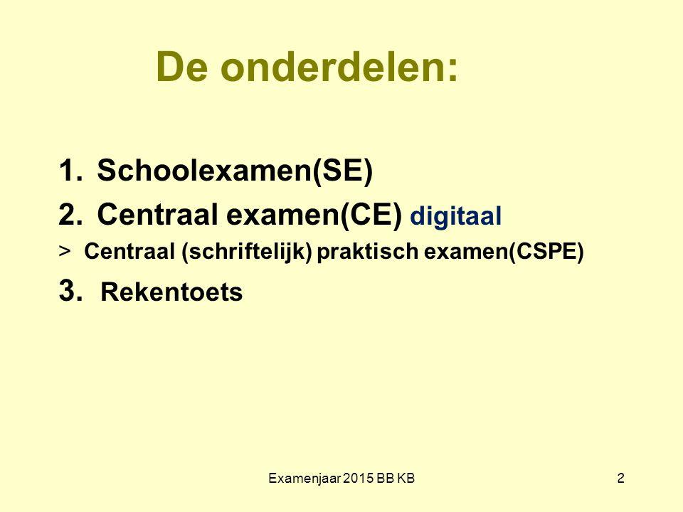 De onderdelen: 1.Schoolexamen(SE) 2.Centraal examen(CE) digitaal >Centraal (schriftelijk) praktisch examen(CSPE) 3. Rekentoets Examenjaar 2015 BB KB 2