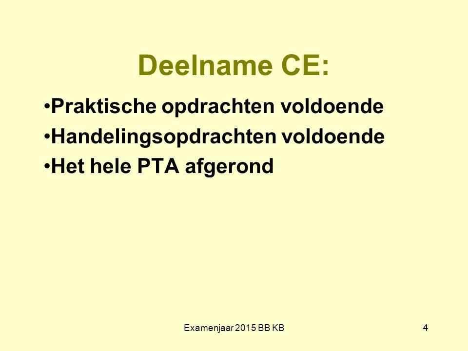 Deelname CE: Praktische opdrachten voldoende Handelingsopdrachten voldoende Het hele PTA afgerond Examenjaar 2015 BB KB 4