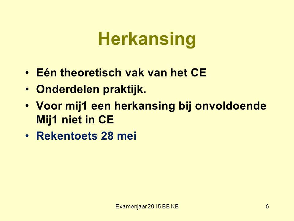 Herkansing Eén theoretisch vak van het CE Onderdelen praktijk. Voor mij1 een herkansing bij onvoldoende Mij1 niet in CE Rekentoets 28 mei Examenjaar 2