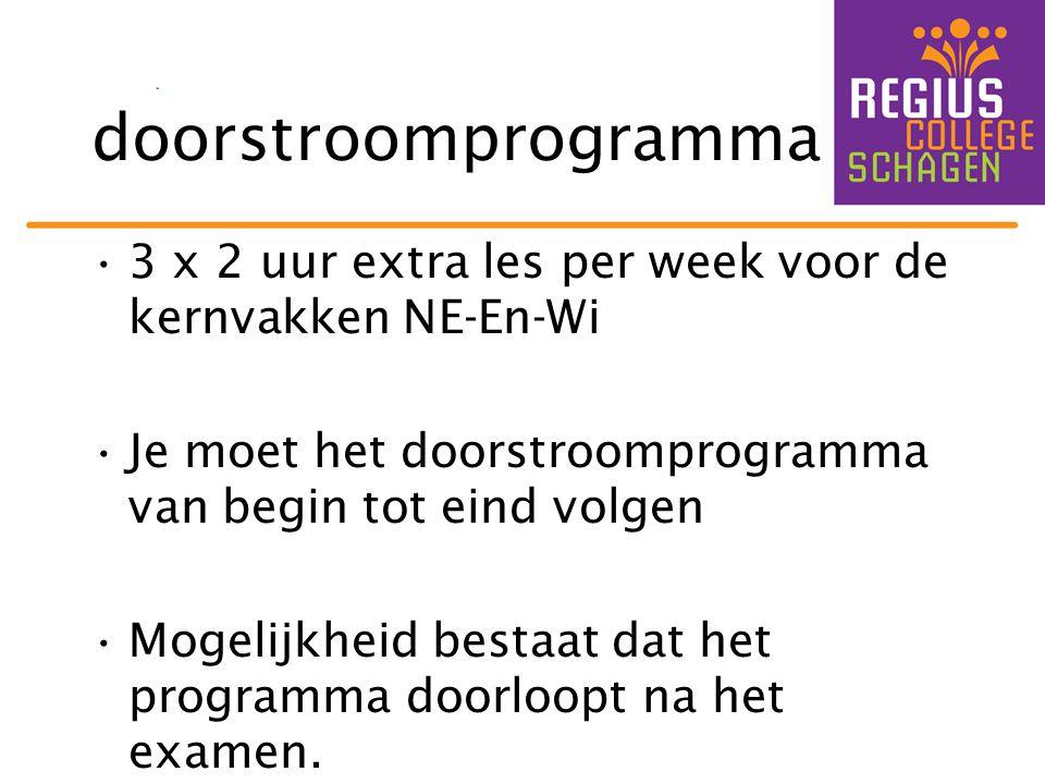 doorstroomprogramma 3 x 2 uur extra les per week voor de kernvakken NE-En-Wi Je moet het doorstroomprogramma van begin tot eind volgen Mogelijkheid bestaat dat het programma doorloopt na het examen.