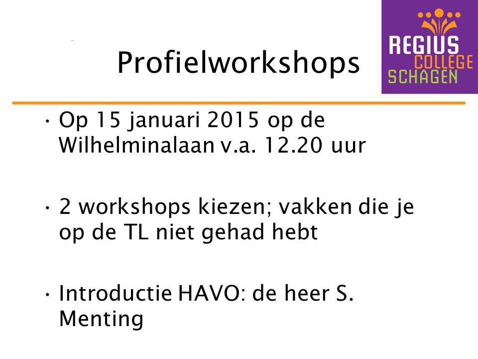 Profielworkshops Op 15 januari 2015 op de Wilhelminalaan v.a. 12.20 uur 2 workshops kiezen; vakken die je op de TL niet gehad hebt Introductie HAVO: d