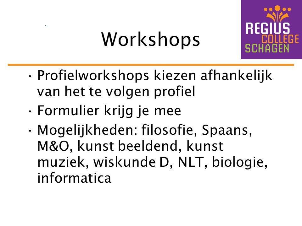 Workshops Profielworkshops kiezen afhankelijk van het te volgen profiel Formulier krijg je mee Mogelijkheden: filosofie, Spaans, M&O, kunst beeldend, kunst muziek, wiskunde D, NLT, biologie, informatica