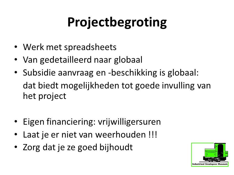 Projectbegroting Werk met spreadsheets Van gedetailleerd naar globaal Subsidie aanvraag en -beschikking is globaal: dat biedt mogelijkheden tot goede