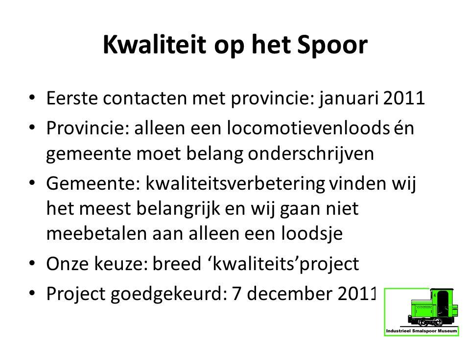 Kwaliteit op het Spoor Eerste contacten met provincie: januari 2011 Provincie: alleen een locomotievenloods én gemeente moet belang onderschrijven Gem
