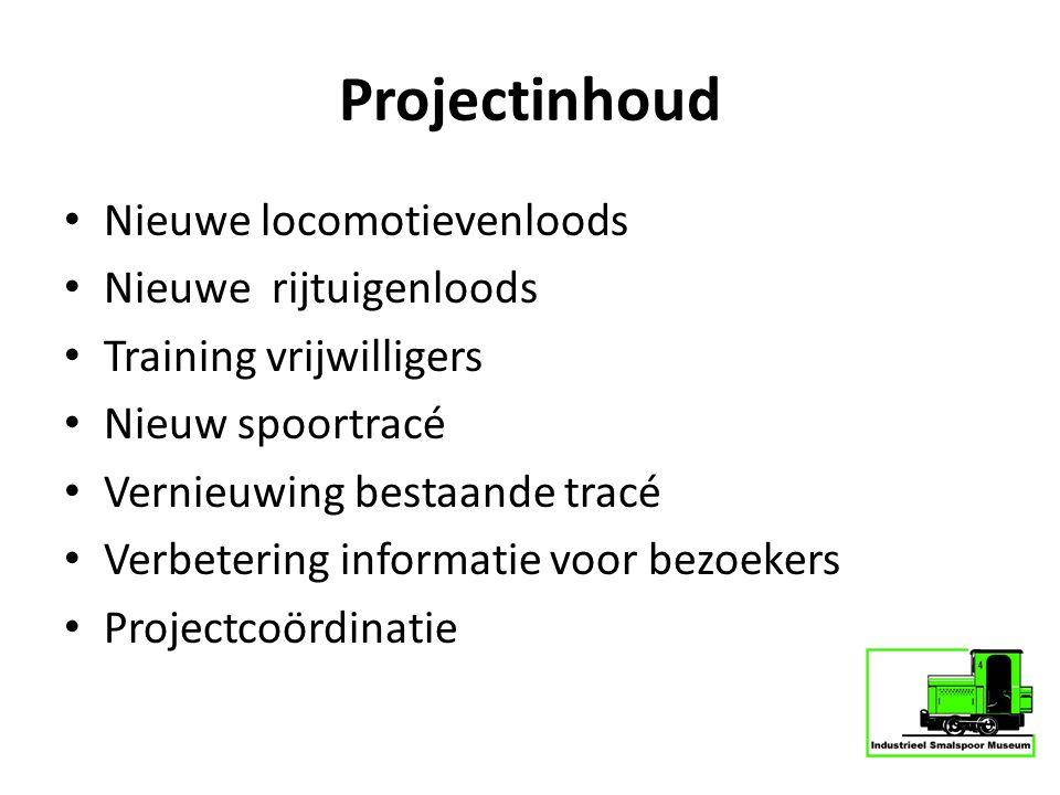 Projectinhoud Nieuwe locomotievenloods Nieuwe rijtuigenloods Training vrijwilligers Nieuw spoortracé Vernieuwing bestaande tracé Verbetering informati