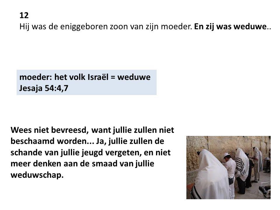 12 Hij was de eniggeboren zoon van zijn moeder. En zij was weduwe.. moeder: het volk Israël = weduwe Jesaja 54:4,7 Wees niet bevreesd, want jullie zul