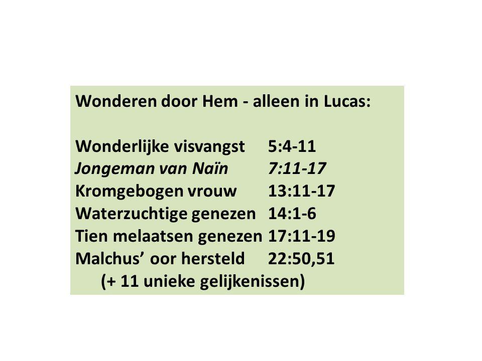 Wonderen door Hem - alleen in Lucas: Wonderlijke visvangst5:4-11 Jongeman van Naïn 7:11-17 Kromgebogen vrouw13:11-17 Waterzuchtige genezen14:1-6 Tien