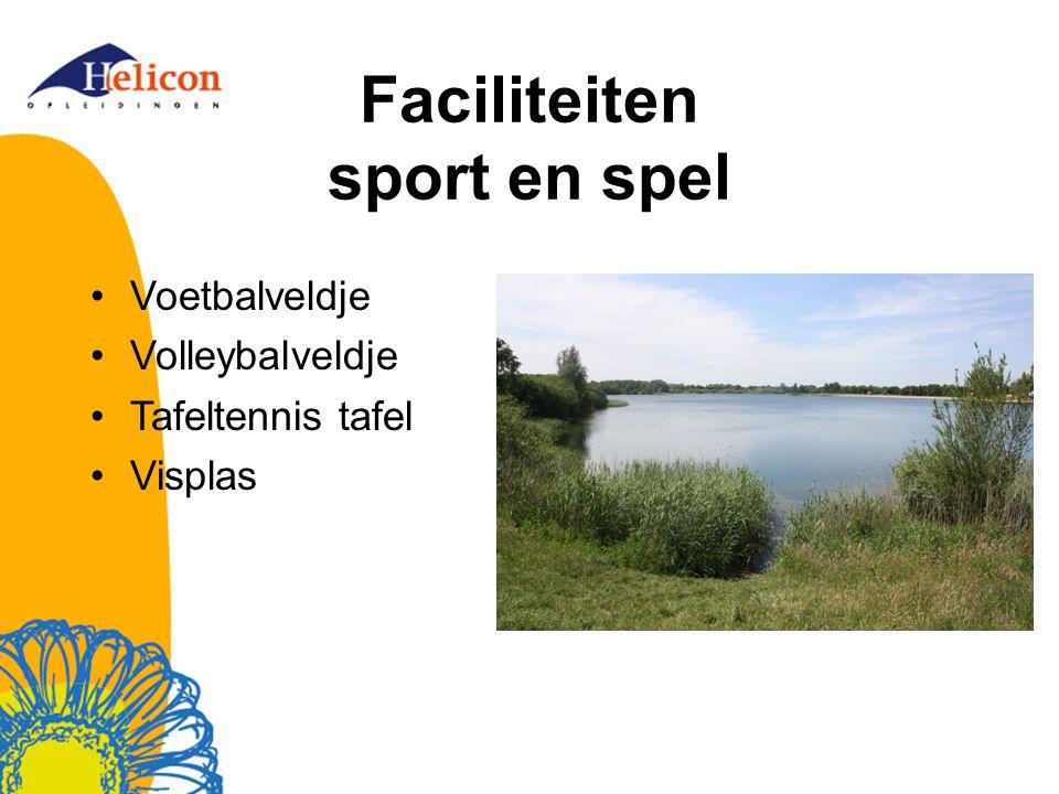 Faciliteiten sport en spel Voetbalveldje Volleybalveldje Tafeltennis tafel Visplas