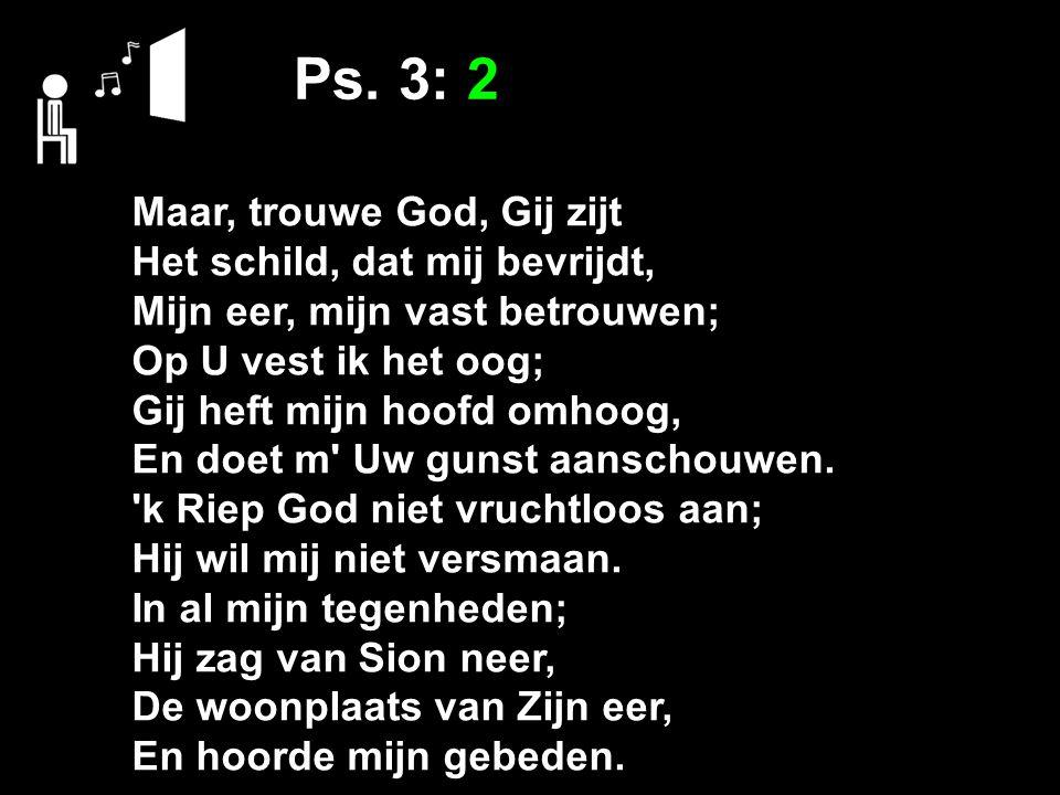 Ps. 3: 2 Maar, trouwe God, Gij zijt Het schild, dat mij bevrijdt, Mijn eer, mijn vast betrouwen; Op U vest ik het oog; Gij heft mijn hoofd omhoog, En