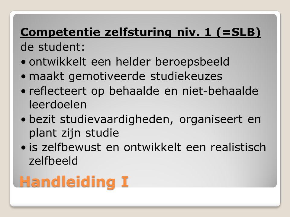 Handleiding I Competentie zelfsturing niv. 1 (=SLB) de student: ontwikkelt een helder beroepsbeeld maakt gemotiveerde studiekeuzes reflecteert op beha
