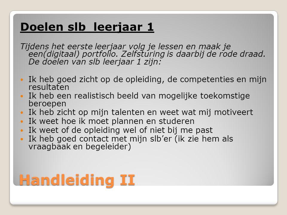 Handleiding II Doelen slb leerjaar 1 Tijdens het eerste leerjaar volg je lessen en maak je een(digitaal) portfolio.