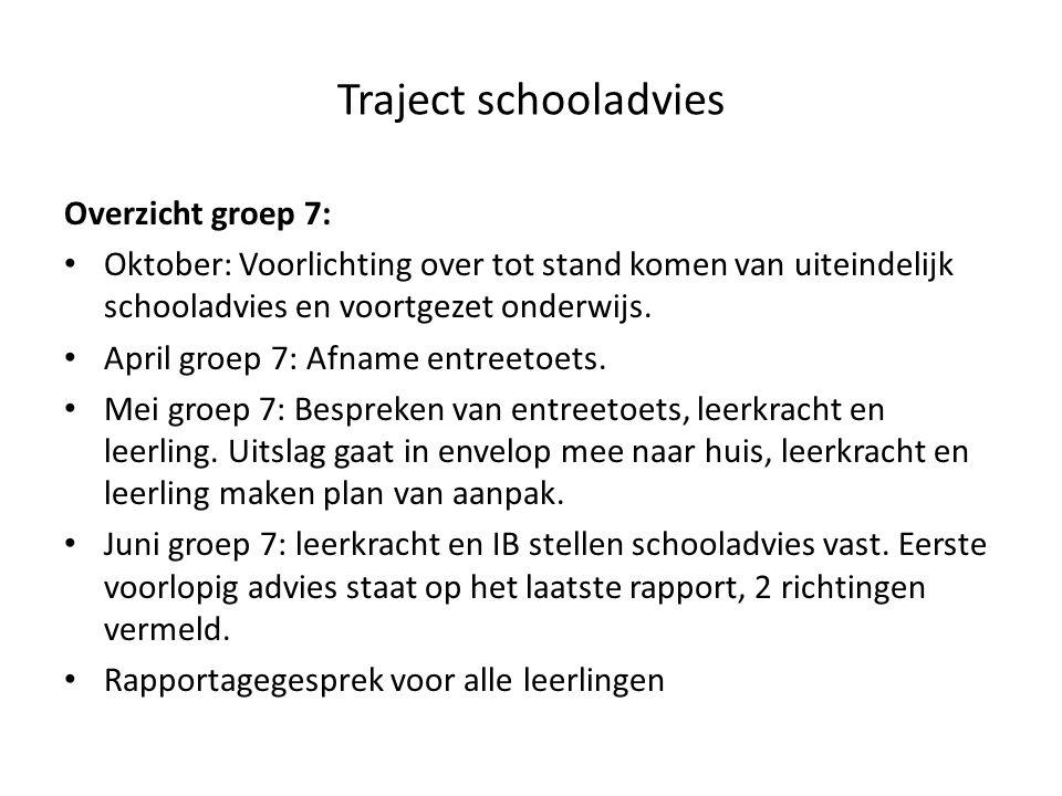 Traject schooladvies Overzicht groep 7: Oktober: Voorlichting over tot stand komen van uiteindelijk schooladvies en voortgezet onderwijs.